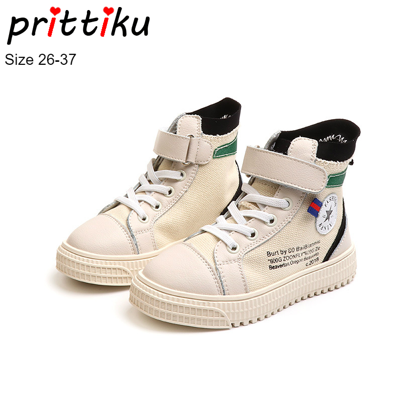 Autumn 2018 Boys Girls High Top Canvas Fashion Sneakers Children Sport School Trainers Toddler/Little/Big Kid Street Dance Shoes winter 2018 girls boys plaid high top plush warm lined sneakers baby toddler little kid casual trainers children lace up shoes