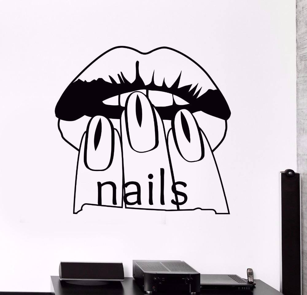 Nail Design Manicure Vinyl Wall Decal Beuaty Salon Manicure Words Mural Art Wall Sticker Nail Shop Room Wall Decoration