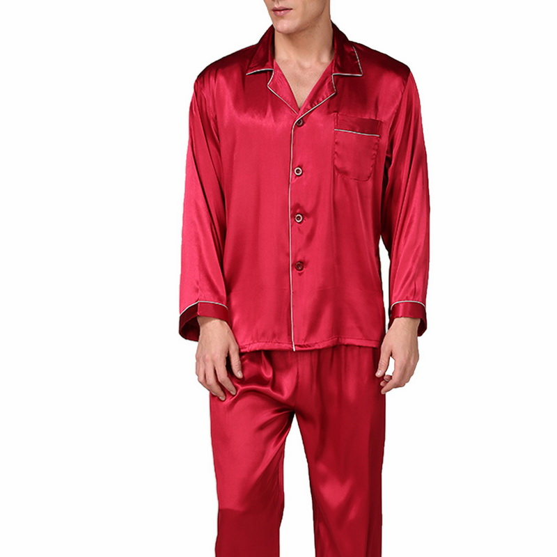 Laamei Men's Long Sleeve Classic Pajamas Pajama Set Spring Autumn And Summer Men's Silk Solid Color Large Size Home Service