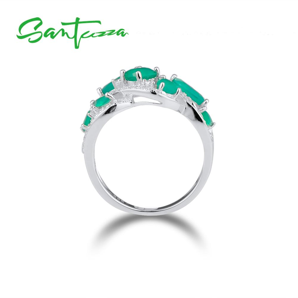 Image 3 - SANTUZZA Silver Rings For Women Pure 925 Sterling Silver Pear  Green Chalcedony Sparkling Trendy Party Ring Fine JewelryRings   -