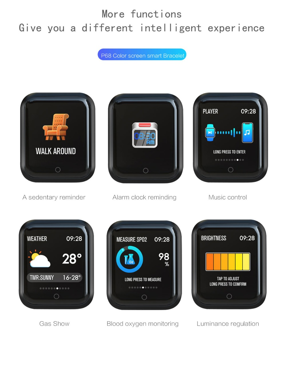 Smart Watch P68 Sports IP68 fitness bracelet activity tracker heart rate monitor blood pressure for ios Android apple iPhone 6 7 20