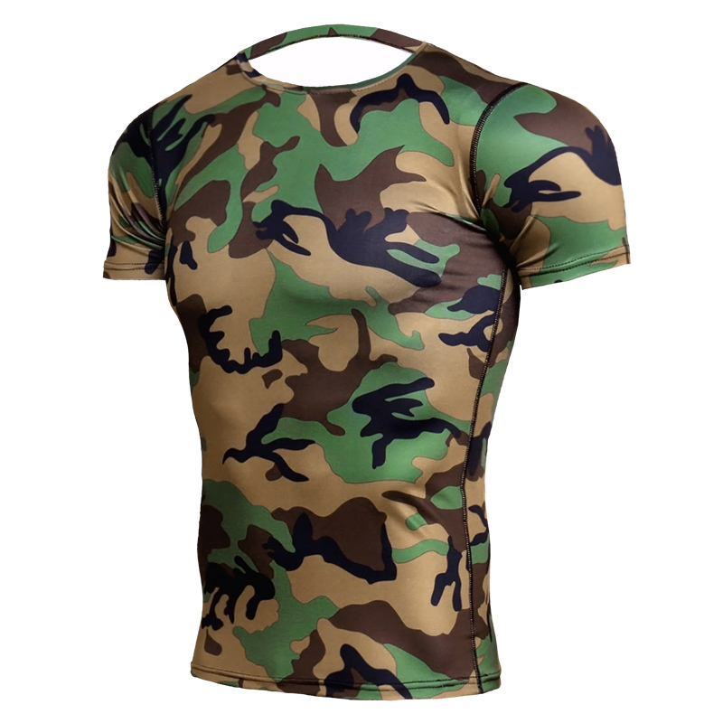Camouflage Short Sleeve T-shirt Man's Quick Dry Running Compression Shirt Men Breathable Rashgard Gym Fitness Tights Sportswear raglan sleeve camouflage quick dry stretchy gym t shirt