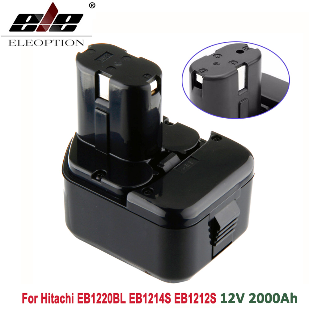 ELEOPTION High Quality 2000mAh 12V 2.0Ah Battery for Hitachi EB1214S 12V EB1220BL EB1212S WR12DMR CD4D DH15DV C5D , DS 12DVF3 for hitachi 12v 3 0ah ni mh eb1214s ds12dvf3 batteries rechargeable power tool battery for eb1212s eb1214s eb1214l eb1220bl
