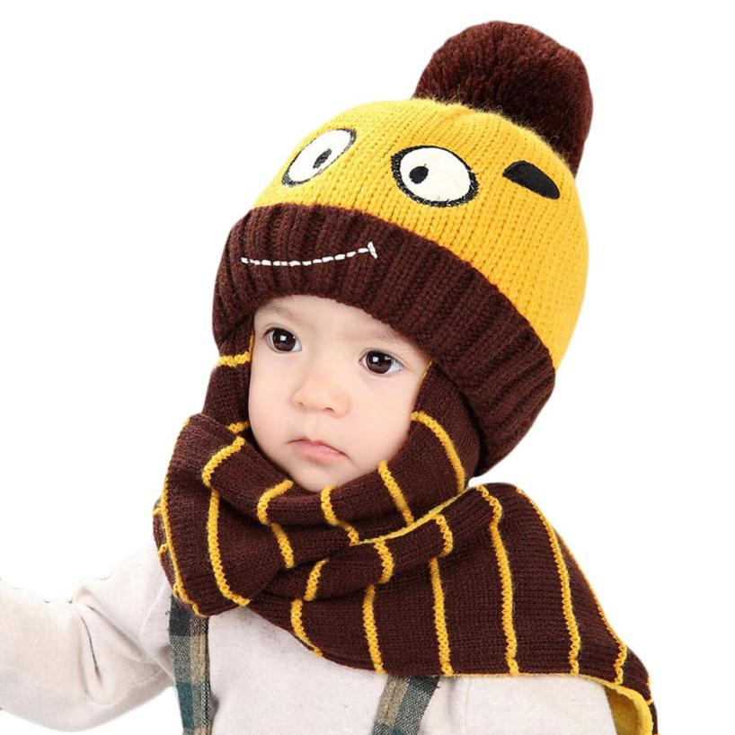 Knitted Winter Baby Boy and Girl Hats and Scarf Set Kids ...