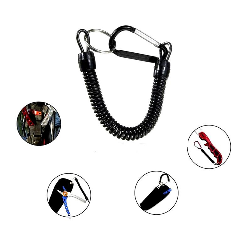 2x Tactical Retractable Elastic Rope Securit Gear Tool Hiking Camping KeychainZY