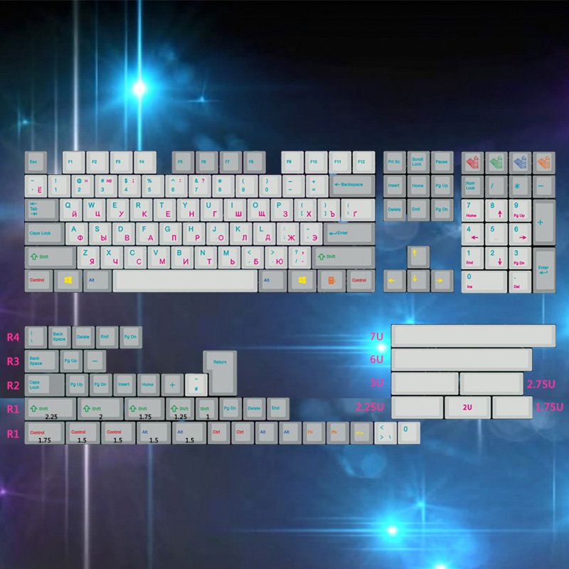 153 Keys Pbt Keycap Dye Subbed  2u 1.75 U Shift Iso Keys For Cherry Mx Mechanical Keyboard Full Set Russian Keycap