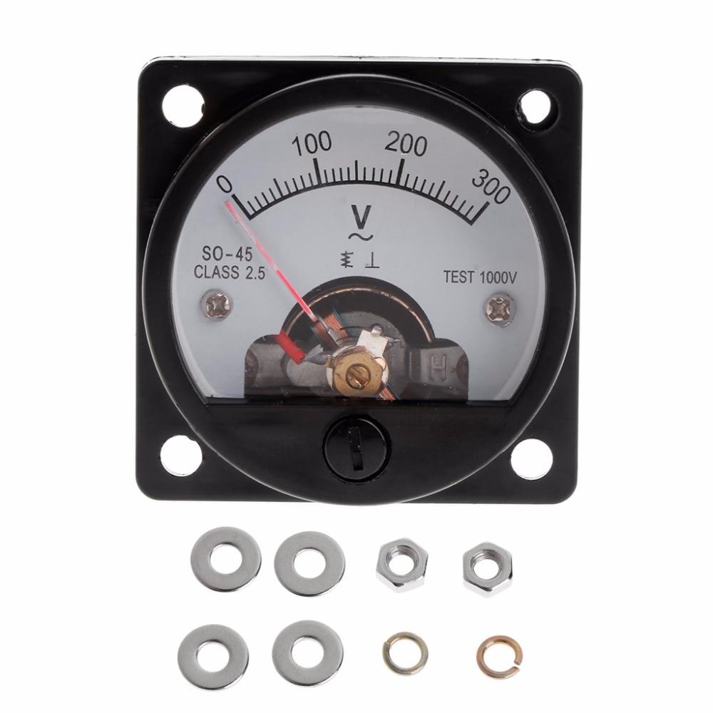 Voltmeter SO-45 AC 0-300V Round Analog Dial Panel Meter Voltmeter Gauge Black