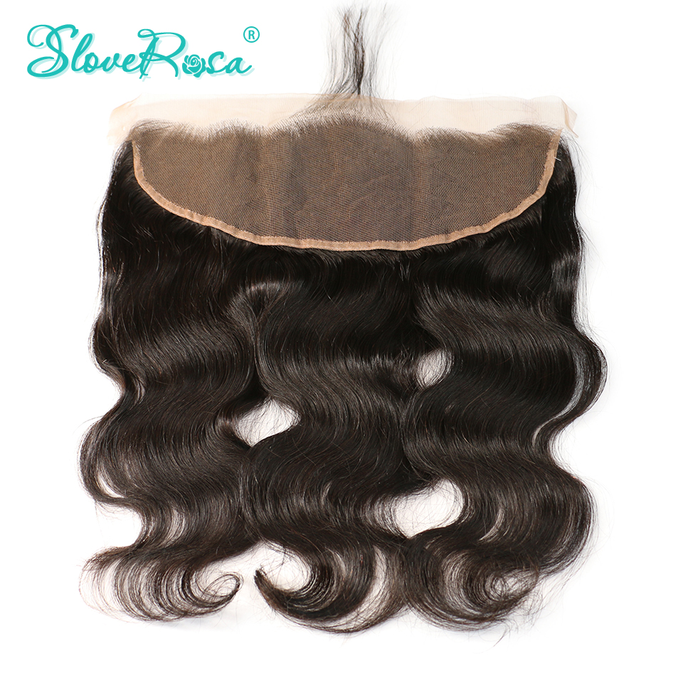Slove Rosa Lace Frontal Closure Body Wave 100% Brazilian Remy Hair 13x4 Ear To Ear Bleached Knots With Baby Hair Pre Plucked-in Closures from Hair Extensions & Wigs    1