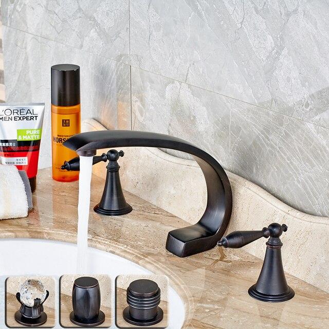 Modern Big C Shaped Spout Basin Sink Faucet Tap Dual Handle Three Handle  Bathroom Sink Tub