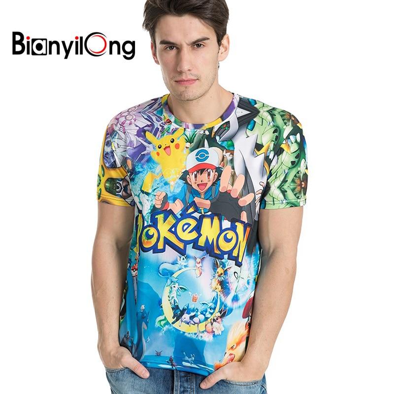 BIANYILONG new fashion summer short men t shirt brand clothing pokemon printing comfortable male t-shirt tshirt men clothing