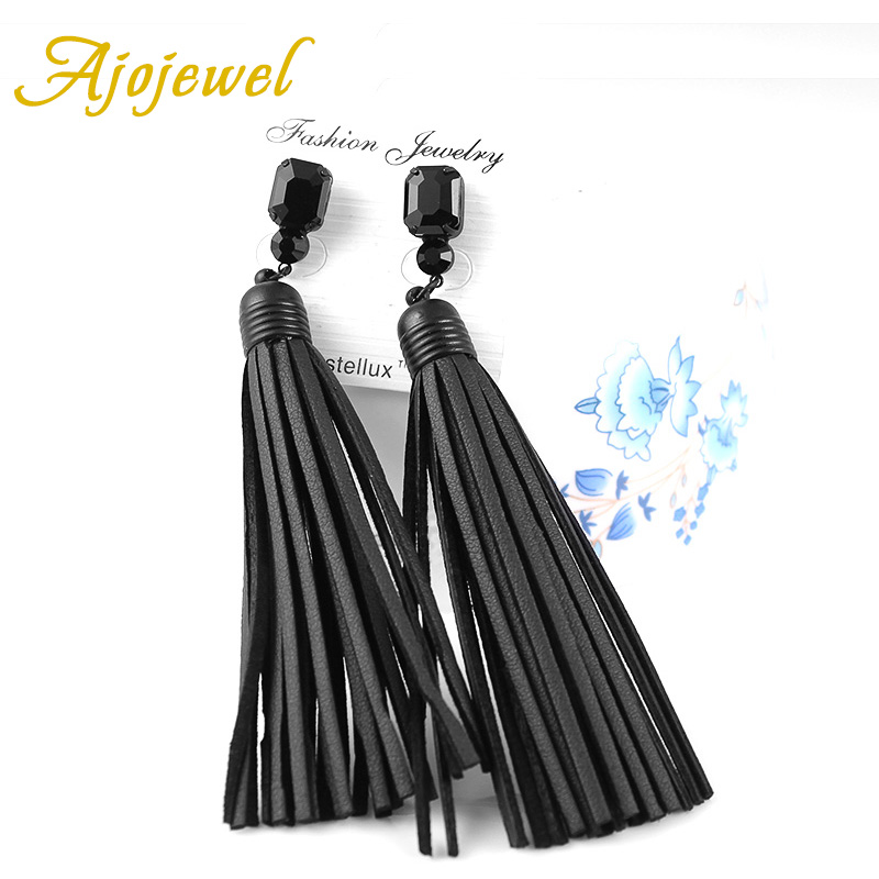 Ajojewel Trendy Vintage Black Glass Crystal Long Reka bentuk Reka bentuk buatan tangan Red / Black Leather Earrings Untuk Wanita