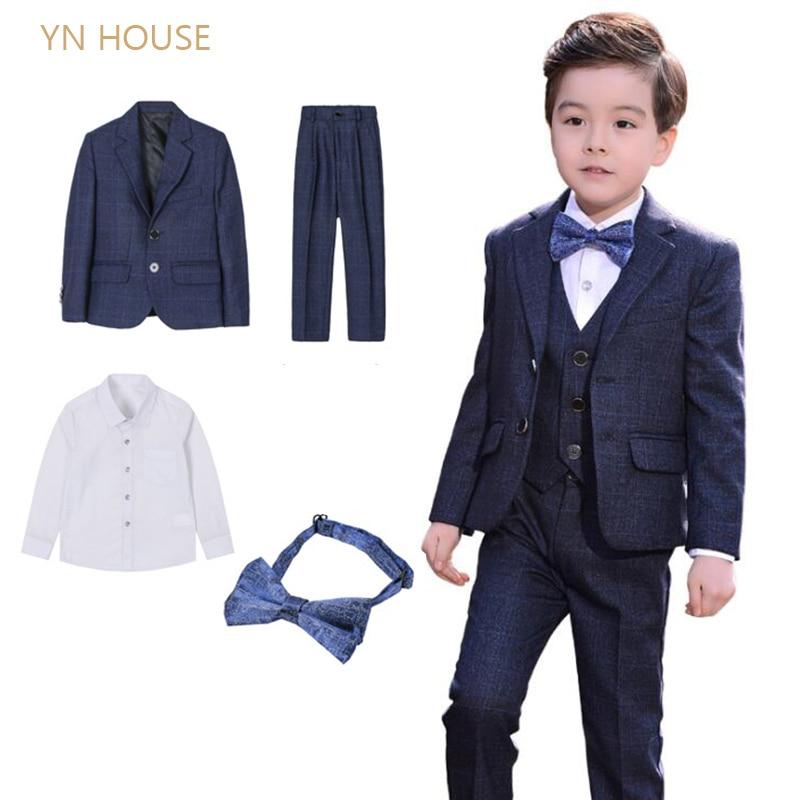 4 pièces/ensemble (manteau + pantalon + chemise + cravate) garçons costumes ensemble formel garçons vêtements enfants mariage vêtements Blazer Piano Costume retour à l'école