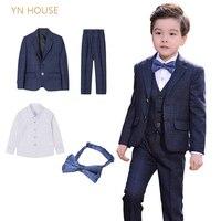 4pcs/SET (Coat+pant+shirt+tie) Boys Suits set Formal Boys Clothes children Wedding clothing Blazer Piano Costume back to School