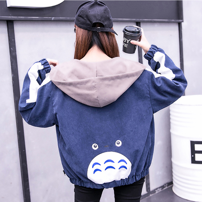 2019 Autumn Jacket Womens Streetwear Patchwork Hooded Totoro Jackets Kawaii Basic Coats harajuku Outerwear chaqueta mujer 42