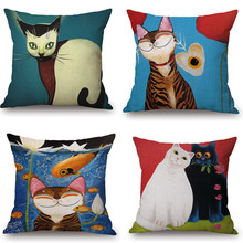 Maiyubo 2018 Cartoon Cat  Animal Square Pillow Case Cushion Cover Cotton Linen Bed Sofa Throw Pillow Cover Kids Toy Series PC077