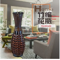 Classic Large Floor Art Bamboo Vase Fashion Home Decor Craft Antique Imitate Flower Floor Vase For Living Room Decoration Craft