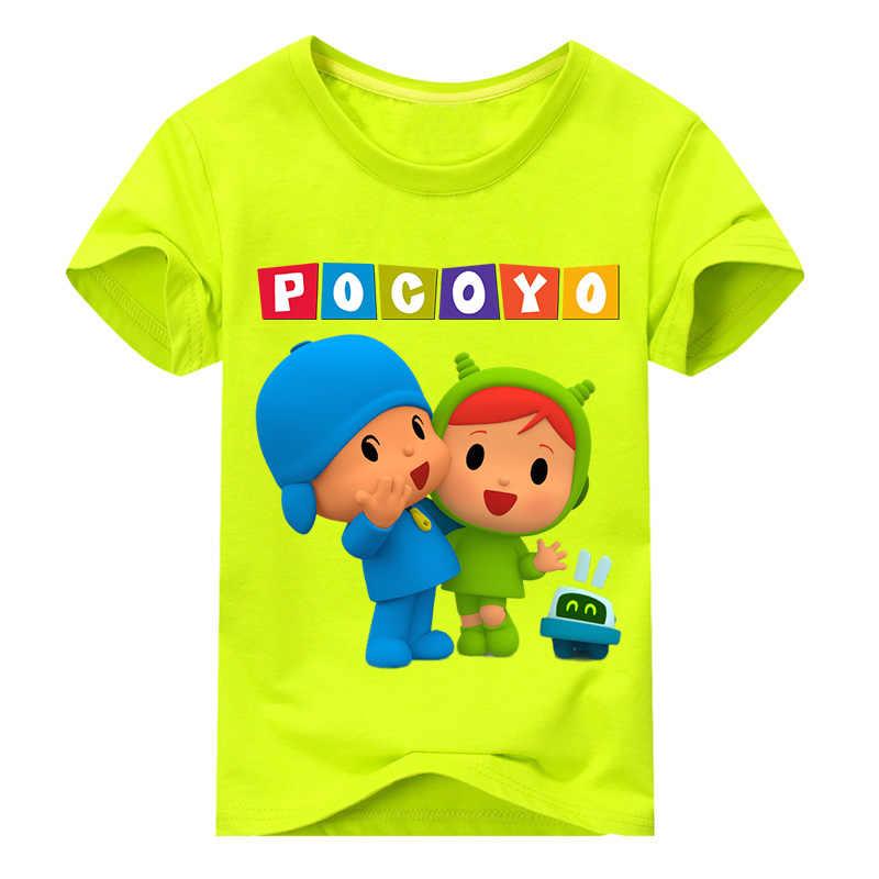 2019 Nova Crianças T-shirt de Manga Curta Para Os Meninos Roupas de Verão Das Meninas do Menino T Camisas Do Bebê Cão 3D Pocoyo Traje Impressão encabeça Tee