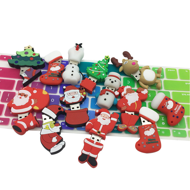 USB Flash Drive 128gb Cartoon Santa Claus Usb 2 0 4GB 8GB 16GB 32GB 64GB Christmas