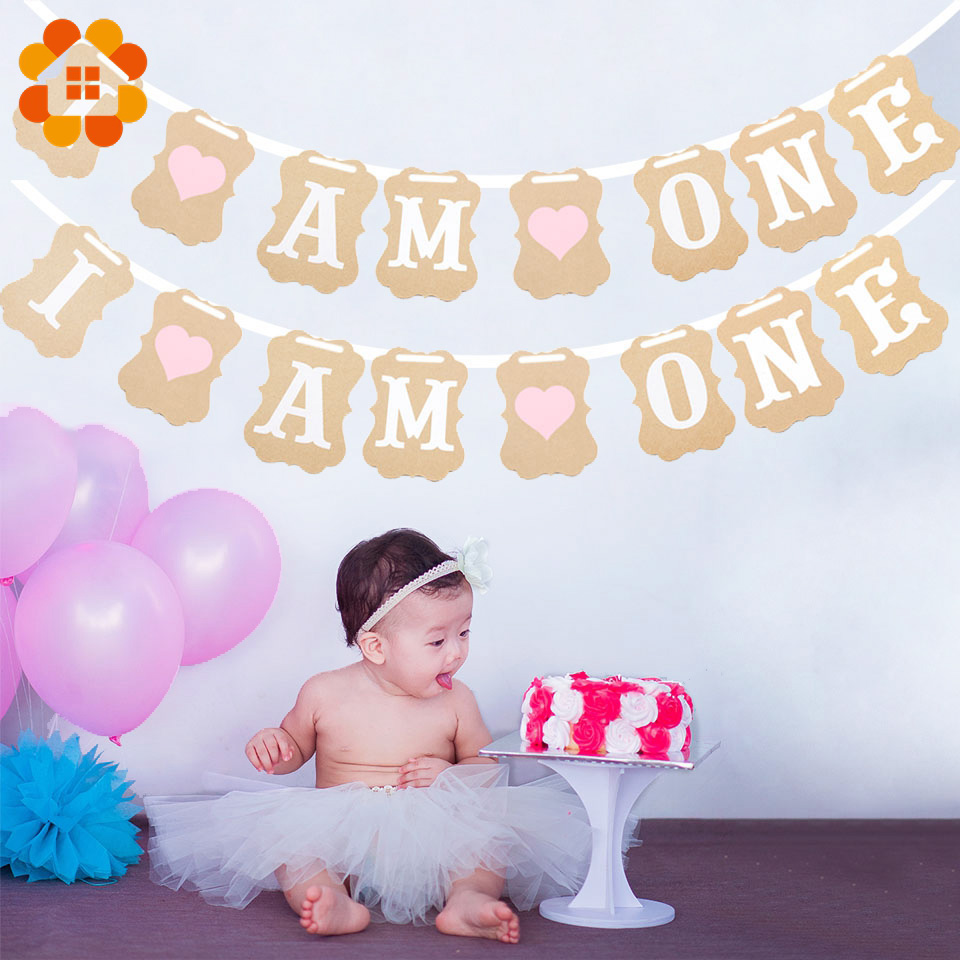 Baby Shower 1st Birthday I AM ONE Banner Paper Kraft Baby Boy Girl My first Party Decoration One Year Birthday DIY Supplies