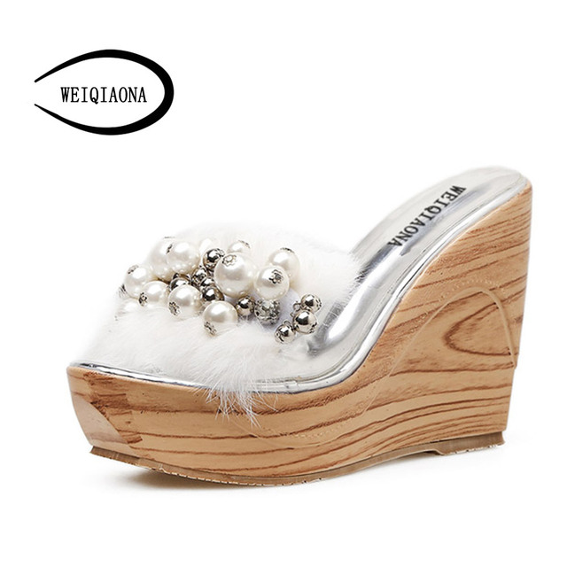 WEIQIAONA 2018 New Women Shoes Summer Bling Beads Sandals Fashion  Rhinestones Ladies Sexy Peep Toe High Heels Flip Flops a835bea7f044