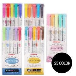 3 hoặc 5 cái/bộ ngựa vằn mildliner màu Nhật Bản văn phòng phẩm hai đầu bút huỳnh quang móc màu Bút Đánh Dấu bút Kawaii