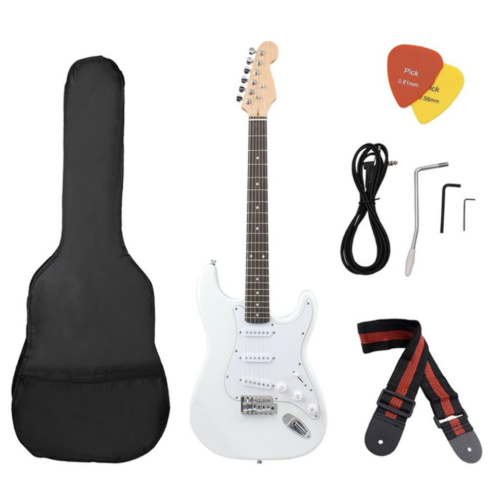 Portable Quality Basswood Beginner Electric Electronic Guitar with Starter Kit Bag Tuner StrapPortable Quality Basswood Beginner Electric Electronic Guitar with Starter Kit Bag Tuner Strap