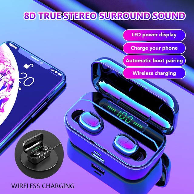 Wireless Earbuds Bluetooth 5.0 Headphones,Sports in-Ear TWS Stereo Mini Headset w/Mic Extra Bass IPX5 Waterproof Low Latency Instant Pairing 30H Battery Charging Case Noise Cancelling Earphones