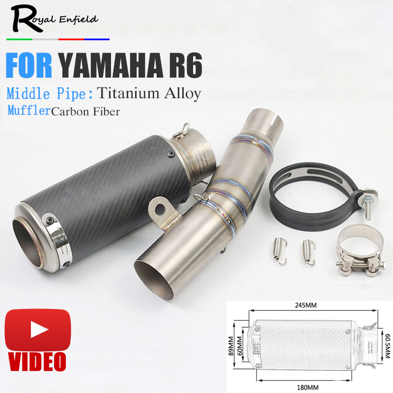 YZF R6 Motorcycle Exhaust Pipe for YAMAHA R6 YZF R6 slip-on Moto Escape R6 Motorcycle Muffler Echappement Moto with middle pipe free shipping moto brake rotor disc for yamaha xj6 xj600 diversion 09 11 yzf r6 tzf r6 r600 03 04 mt 03 660 06 11