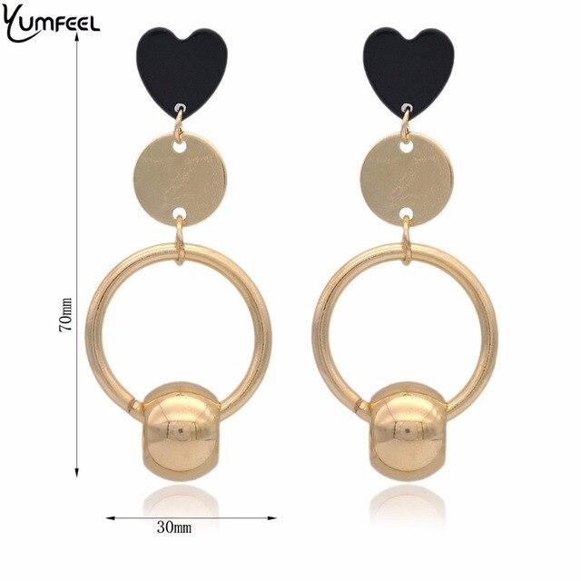 Yumfeel Brand New Fashion Accessory Earrings Heart Beaded Drop Earrings Pendientes Mujer Moda 2