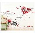 Para Sala de estar Decoração do Quarto Amor Bicicleta Adesivos de Parede Removível Decalques Amante