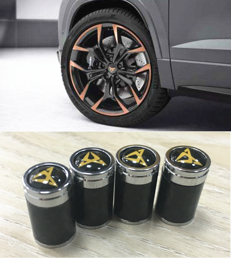 4 Pcs/set High Quality Carbon Fiber Look Valve Caps Suitable For Seat Ateca Cupra Leon Ibiza Arona FR Car Styling Accessories