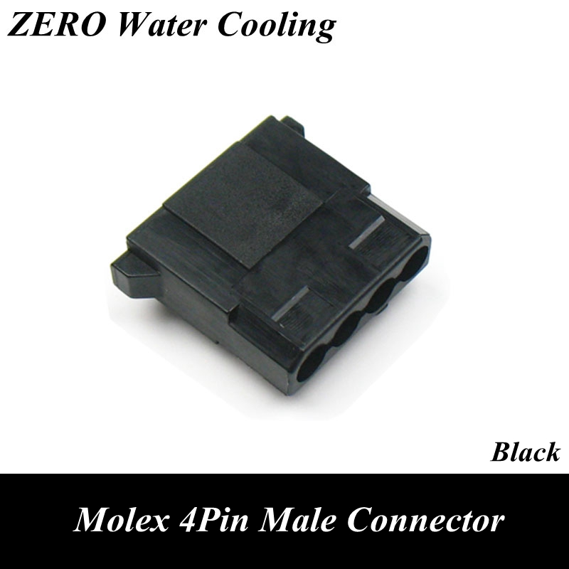 Black Molex 4Pin Male Power Connector with 5pcs Free Terminal Pins black molex 4pin female power connector 5pcs free terminal pins