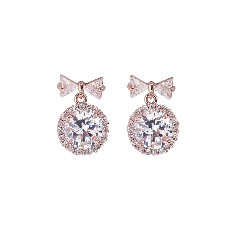 2019 Korean New Round CZ Zircon Pendant Earrings For Women Fashion Sweet Bowknot Crystal Earrings Rose Gold Silver Jewelry
