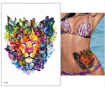 21*15cm new Waterproof Temporary Tattoo Sticker wolf tiger animals pattern tattoo Water Transfer body art fake tattoo women men 3