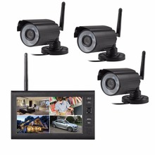 3ch  2.4G  wireless digital  cameras  security  kit  for home  office  factory security  surveillance system