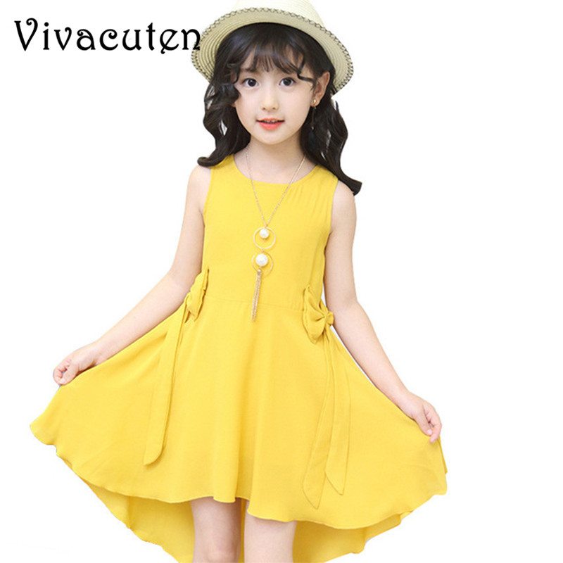 Children Dress Summer 2018 New Casual Princess Girl Sleeveless Party Tutu Dress Kids Dresses for Girls Clothes 4-13 Years H128 retail fashion summer girl dress sleeveless kids dresses for girl tutu party dress lace polka dot novatx brand girls clothes