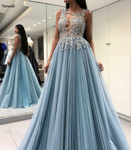 Gorgeous A-Line Evening Party Pleat Chiffon Scoop Sky Blue Open Back Long Formal Prom Dress With Appliques Gown 2019