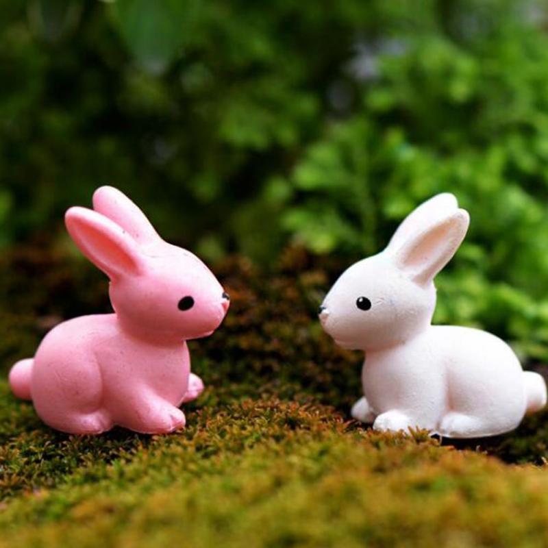 1pc Mini Rabbit Model Decoration Fairy House Miniatures DIY Doll Garden Home Desktop Succulents Micro Landscape Decor A35