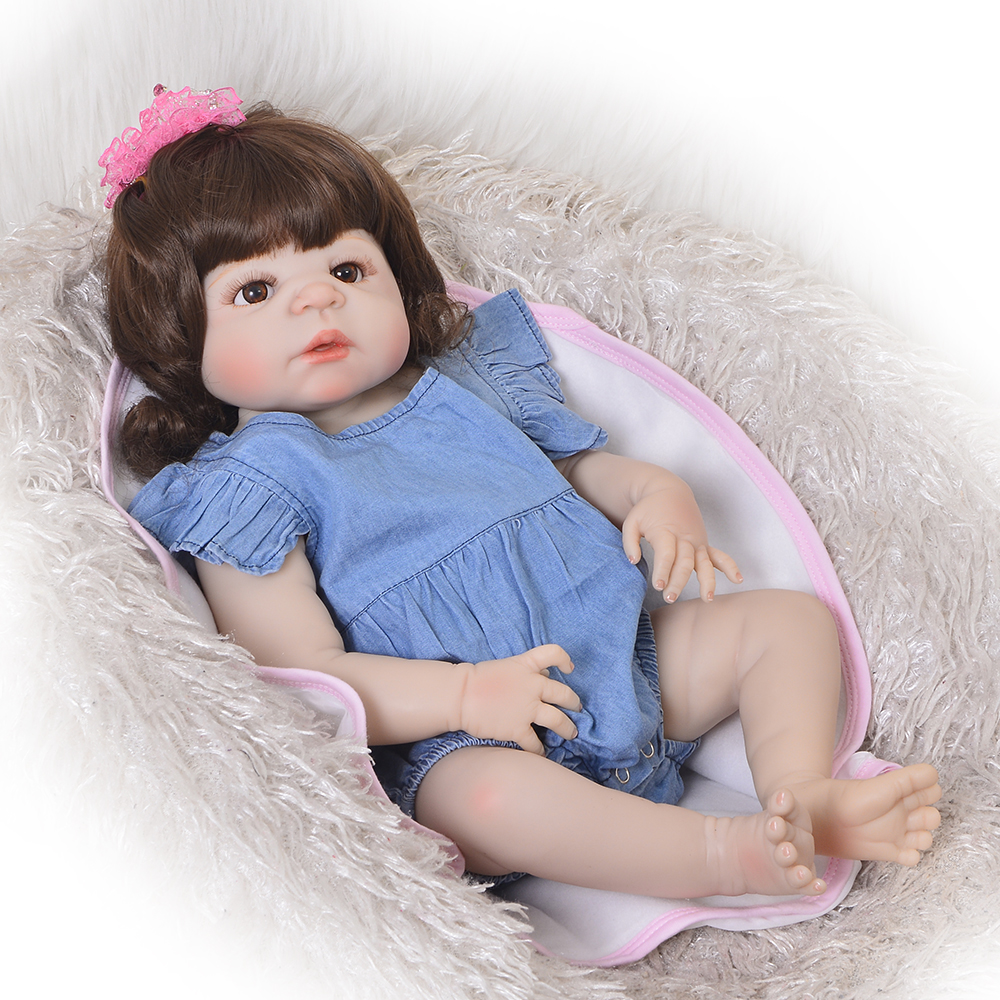 Collectible 23 Inch Lifelike Reborn Dolls Full Silicone Body Curly Hair New Born Babies Girl Toy Kids Holiday Gift Bedtime Play
