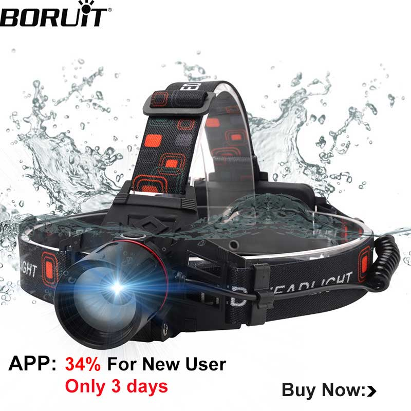 BORUiT 1000LM XML-T6 LED Headlamp 3-Mode Zoomable Headlight Use 18650 Battery Head Torch Waterproof Camping Hunting Flashlight BORUiT 1000LM XML-T6 LED Headlamp 3-Mode Zoomable Headlight Use 18650 Battery Head Torch Waterproof Camping Hunting Flashlight