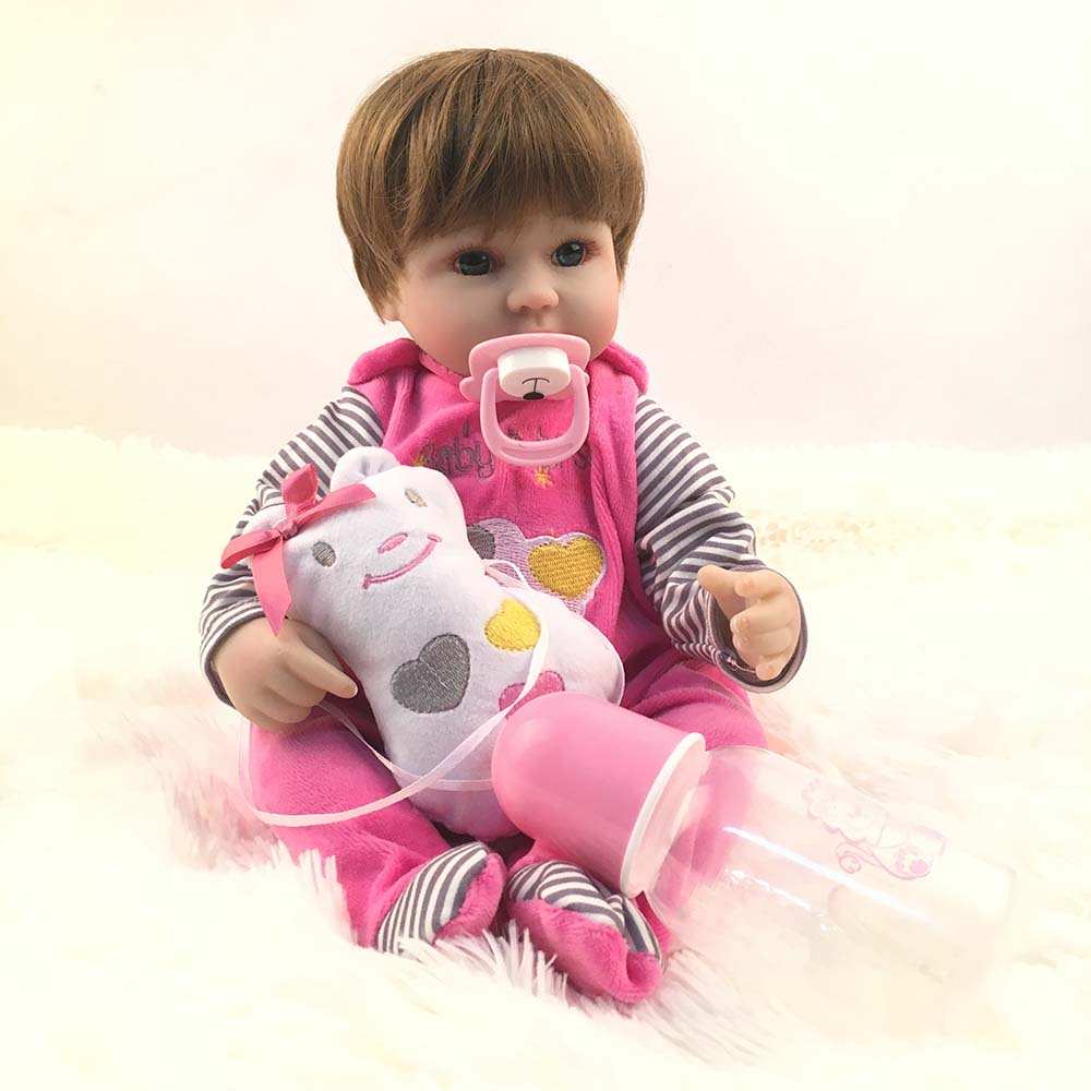 40cm Soft Body Silicone Reborn Baby Doll Toy For Girls Vinyl Newborn Girl Babies Dolls K ...