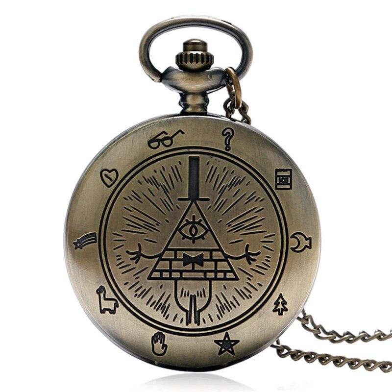 Retro Bronze Free e Accepted Masons All-seeing Eye Pattern Uomo Donna Orologio da tasca al quarzo con collana a catena regalo