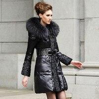 2016 europäische Marke Schlank Ente Unten Frauen Jacken Lange Warme Jacke Frauen Pelzkragen Mantel Qualität Parkas manteau femme JY-988