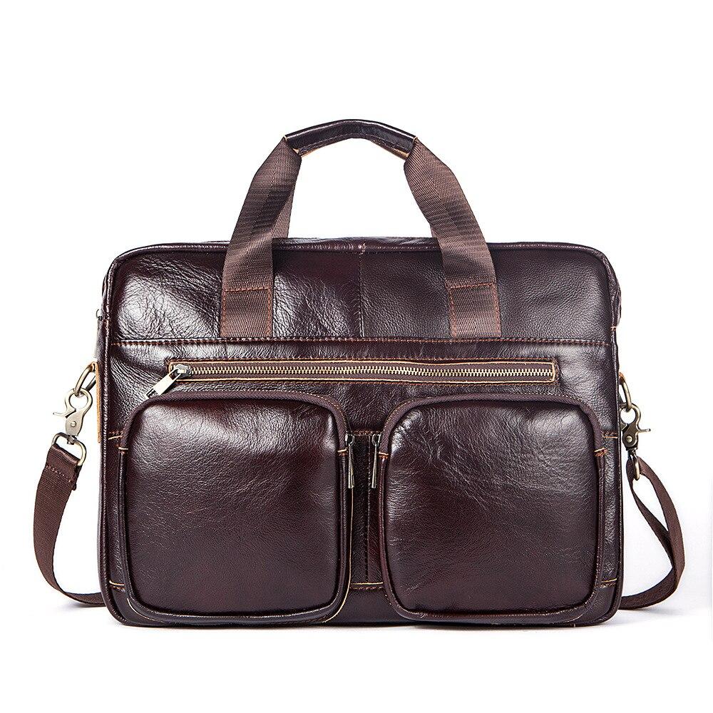 True Leather Man's Briefcase Business Leisure Horizontal Zipper Handbag 14 Inch Computer Bag