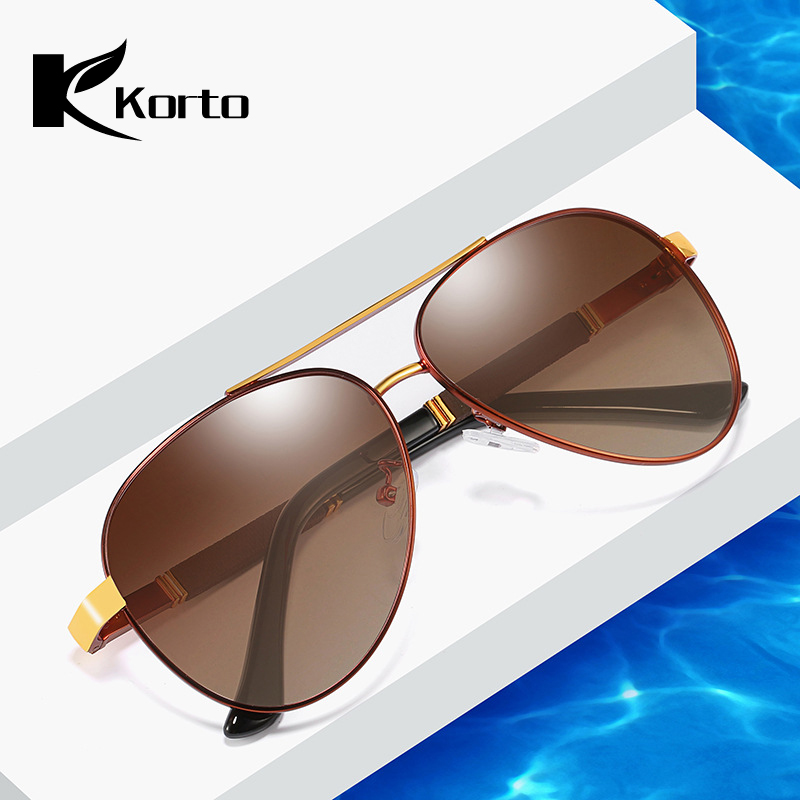 Korto Sunglasses Men Polarized Pilot Vintage Mirror Sunglasses Luxury Aviation Sun glasses Coating Lens Driving Shade For Men in Men 39 s Sunglasses from Apparel Accessories