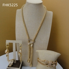 2019 yuminglai venda quente nigeriano feminino ouro cor chapeado simples conjuntos de jóias fhk5225