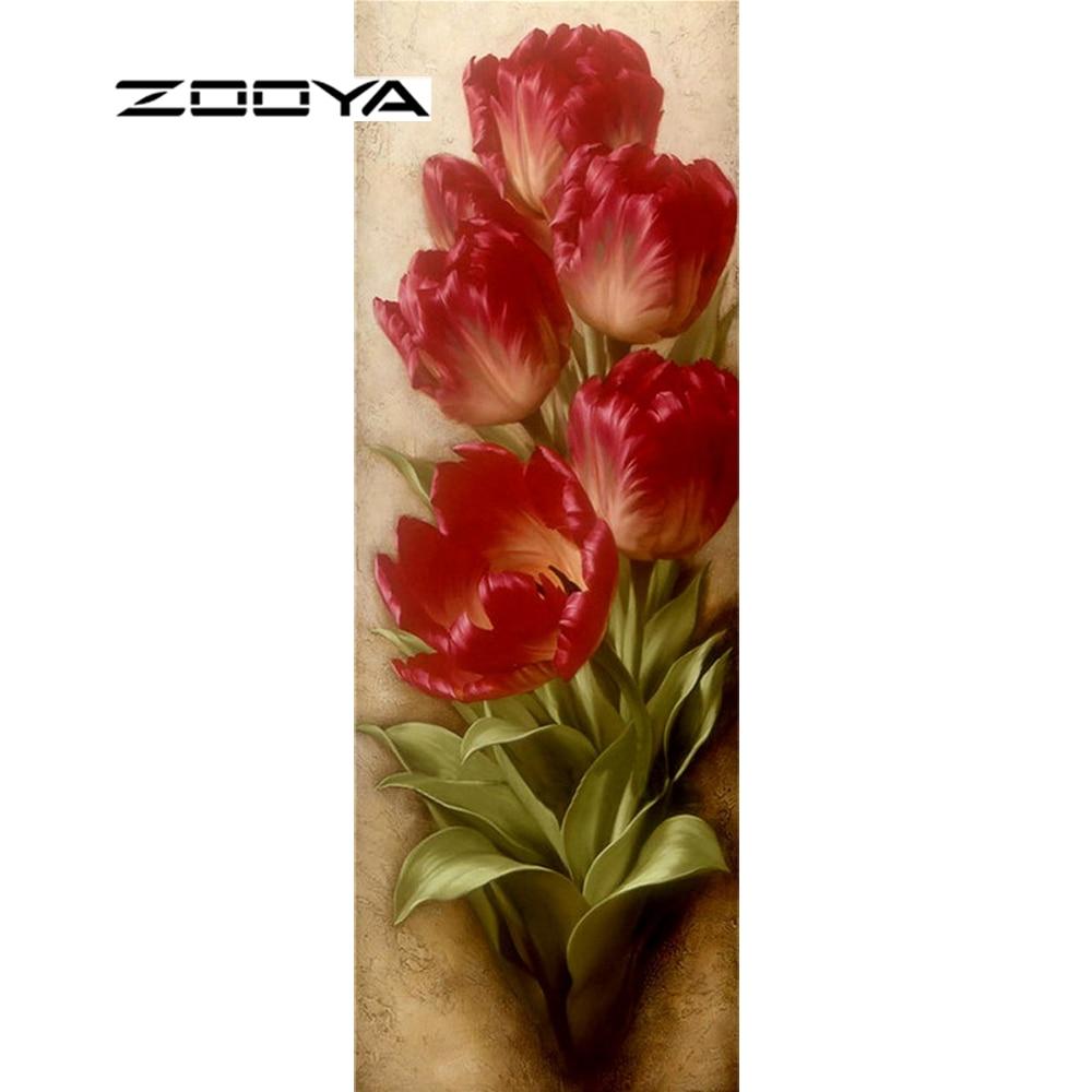 ZOOYA Diamond Embroidery Flowers Tulip Oil Painting Diy Diamond Painting Pattern Rhinestones Diamond Mosaic Needlework RF1064