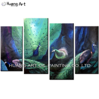 Hand Painted Four Peacocks Oil Painting On Canvas Sapphire Color Oil Picture Animals for Wall Decoration Group Peacock Paintings