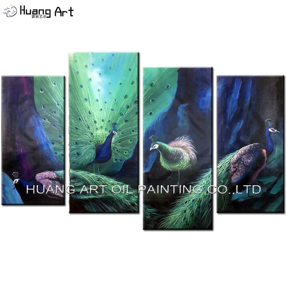 Peint à la main quatre paons peinture à l'huile sur toile saphir couleur huile image animaux pour décoration murale groupe paon peintures