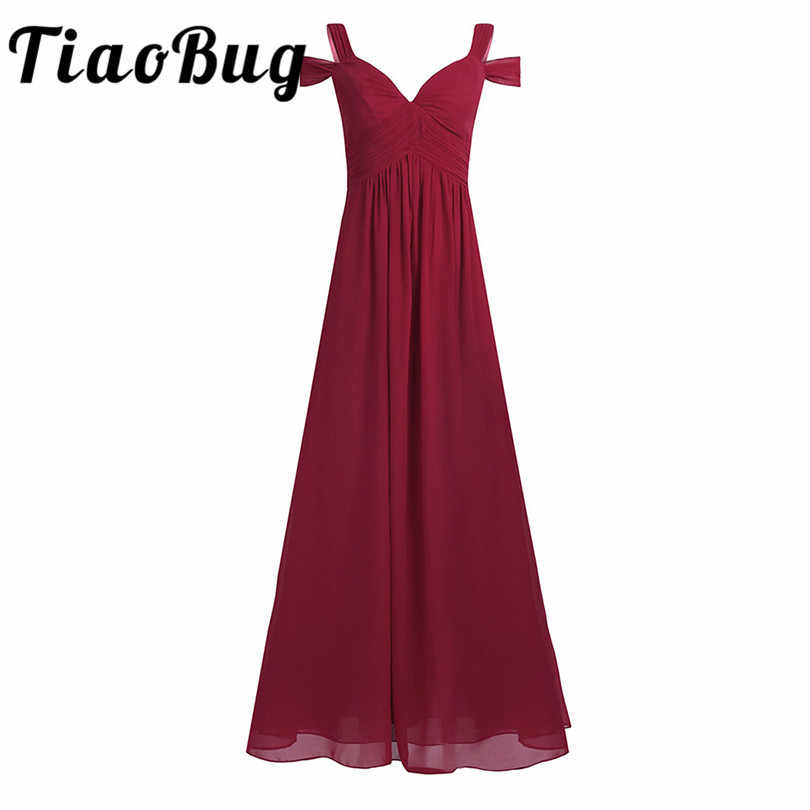 Tiaobug Wanita Chiffon Off-The-Shoulder Bridesmaid Gaun Lantai Panjang Kesempatan Formal Prom Gaun Bridesmaid Gaun